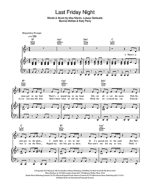 Katy Perry Last Friday Night Sheet Music Notes Chords Printable