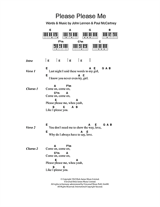 The Beatles Please Please Me Sheet Music Notes Chords Printable