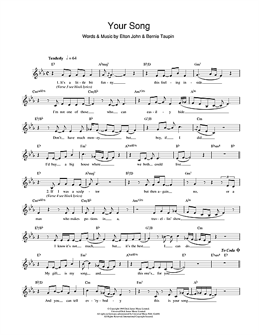 Elton John Your Song Sheet Music Notes Chords Printable Rock