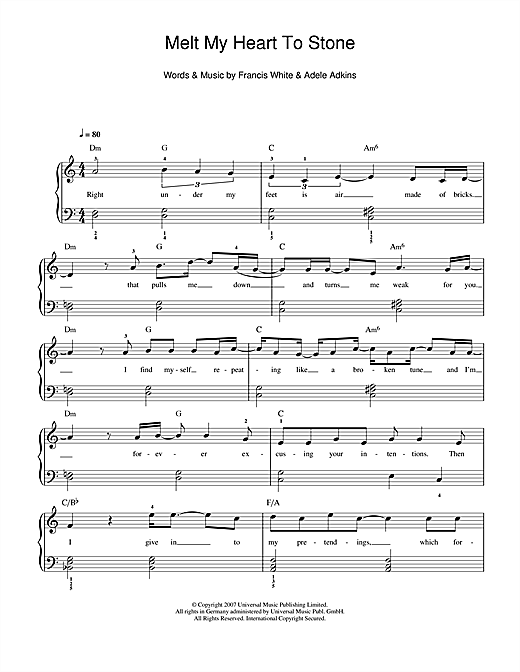 Adele Melt My Heart To Stone Sheet Music Notes Chords Printable