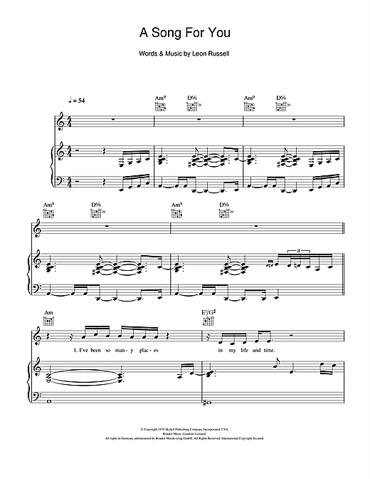 Michael Buble A Song For You Sheet Music Notes Chords Printable