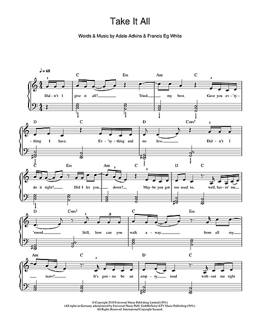 Adele Take It All Sheet Music Notes Chords Printable Pop