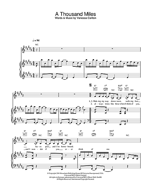 Vanessa Carlton A Thousand Miles Sheet Music Notes Chords