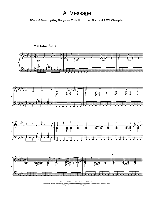 Coldplay A Message Sheet Music Notes Chords Printable Rock