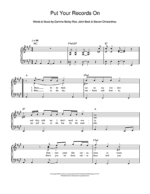 Corinne Bailey Rae Put Your Records On Sheet Music Notes Chords