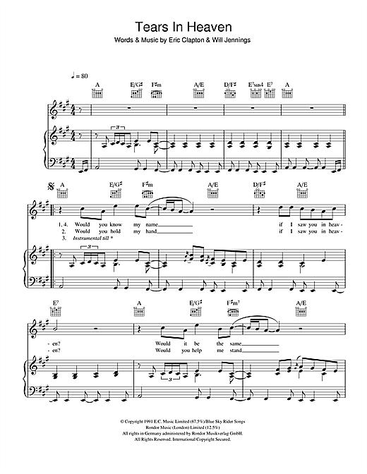 Tears in heaven piano tutorial.