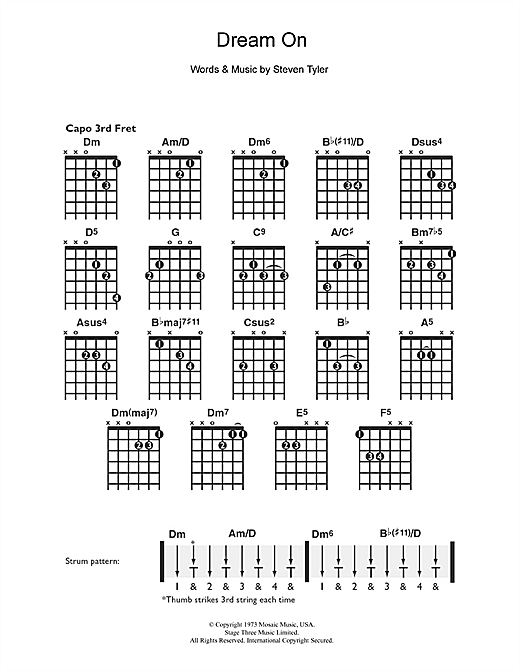 Aerosmith Dream On Sheet Music Notes Chords Printable Rock