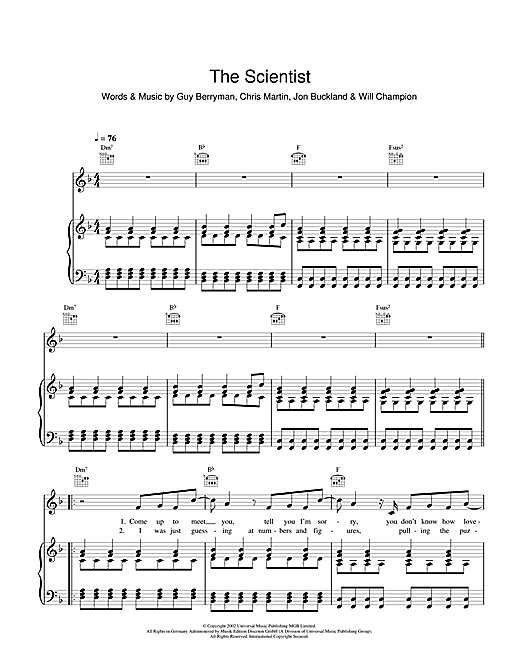Coldplay The Scientist Sheet Music Notes Chords Printable Rock