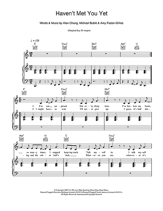 Michael Buble Havent Met You Yet Sheet Music Notes Chords