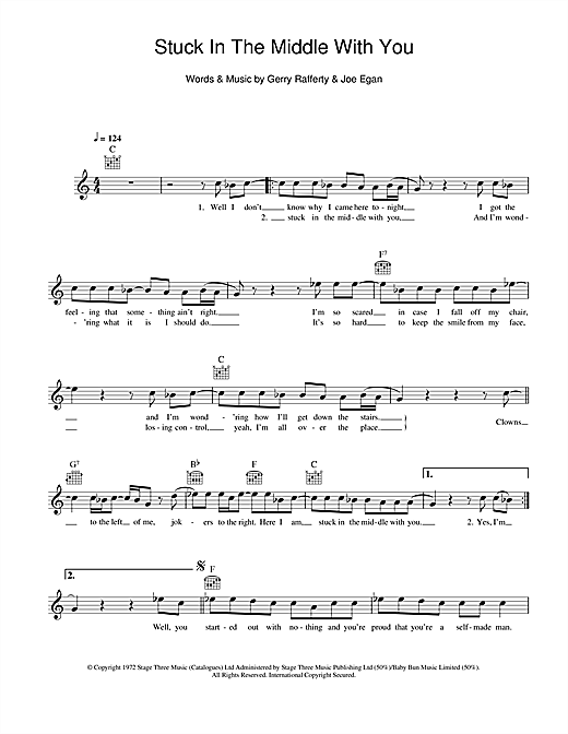Stealers Wheel 'Stuck In The Middle With You' Sheet Music Notes, Chords |  Download Printable Melody Line, Lyrics & Chords - SKU: 111446