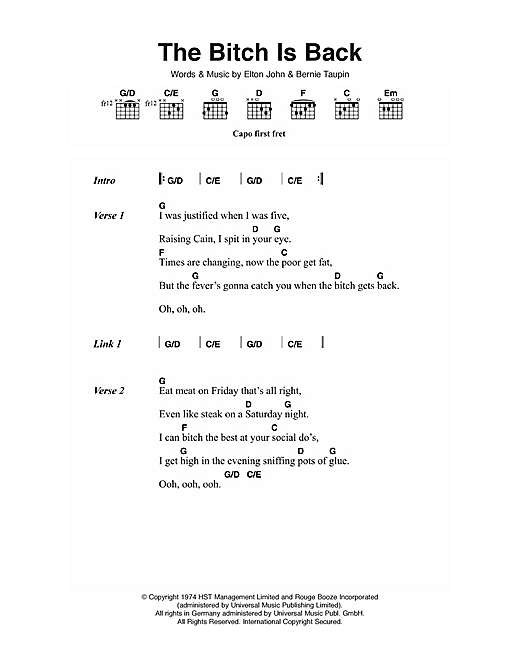 Elton John The Bitch Is Back Sheet Music Notes Chords Printable