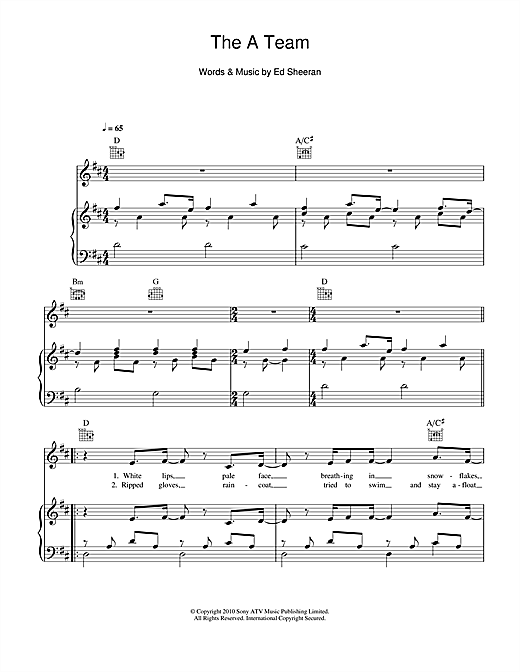 Birdy The A Team Sheet Music Notes Chords Printable Pop Piano