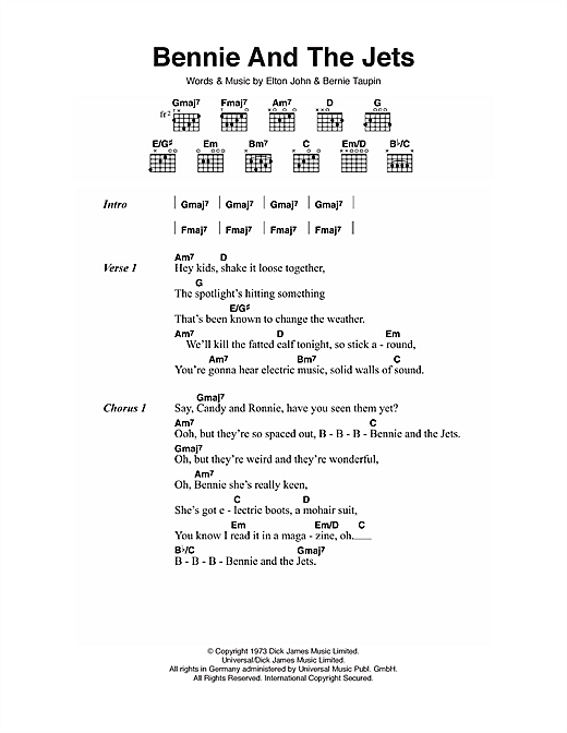 Elton John Bennie And The Jets Sheet Music Notes Chords