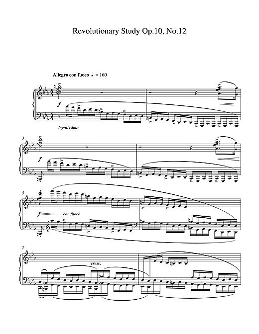 Frederic Chopin 'Revolutionary Study Op 10 No 12' Sheet Music Notes, Chords  | Download Printable Piano - SKU: 111611