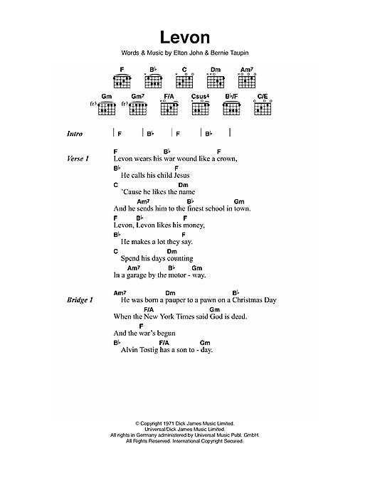 Elton John Levon Sheet Music Notes Chords Printable Pop Lyrics