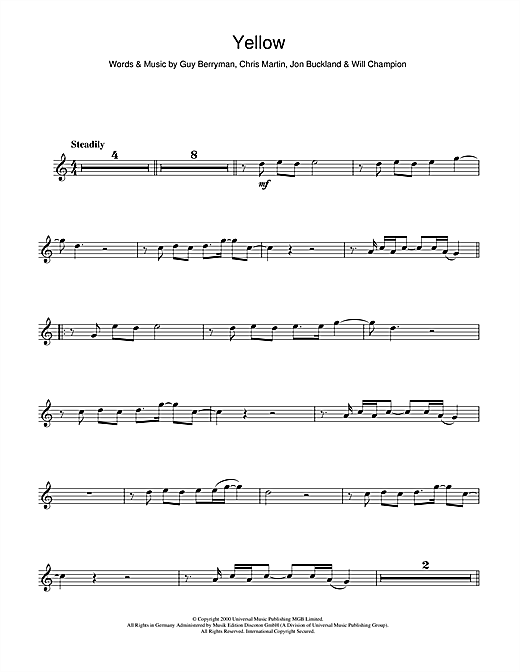Coldplay Yellow Sheet Music Notes Chords Printable Rock Flute