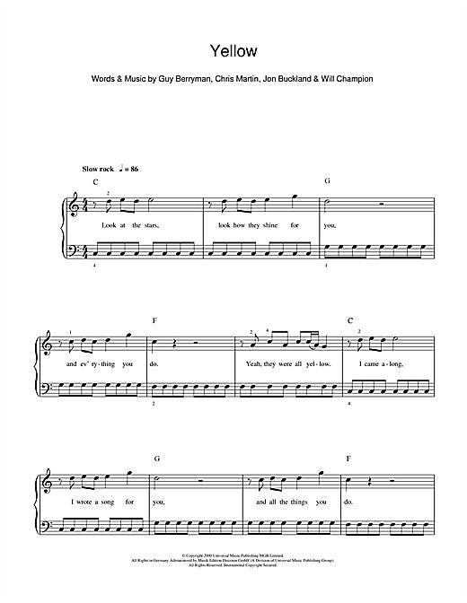 Coldplay Yellow Sheet Music Notes Chords Printable Rock