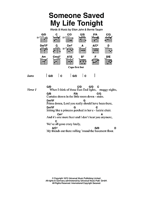 Elton John Someone Saved My Life Tonight Sheet Music Notes Chords