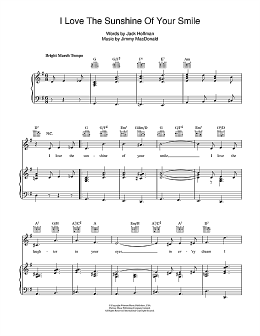 The Four Knights I Love The Sunshine Of Your Smile Sheet Music