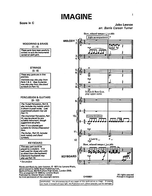 John Lennon Imagine Sheet Music Notes Chords Printable Children