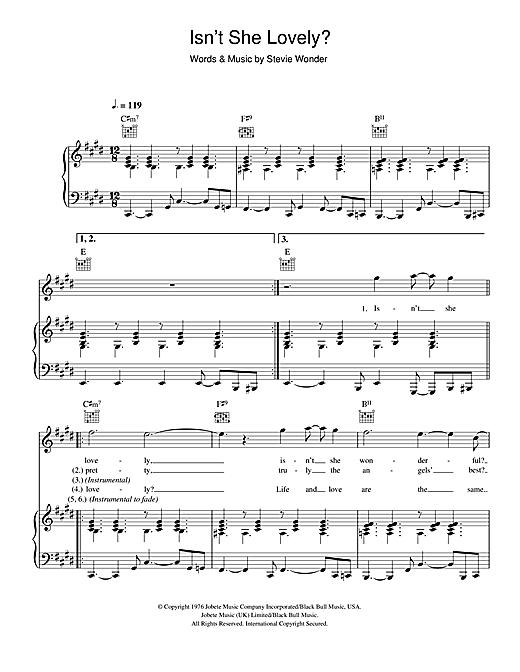 Stevie Wonder Isnt She Lovely Sheet Music Notes Chords