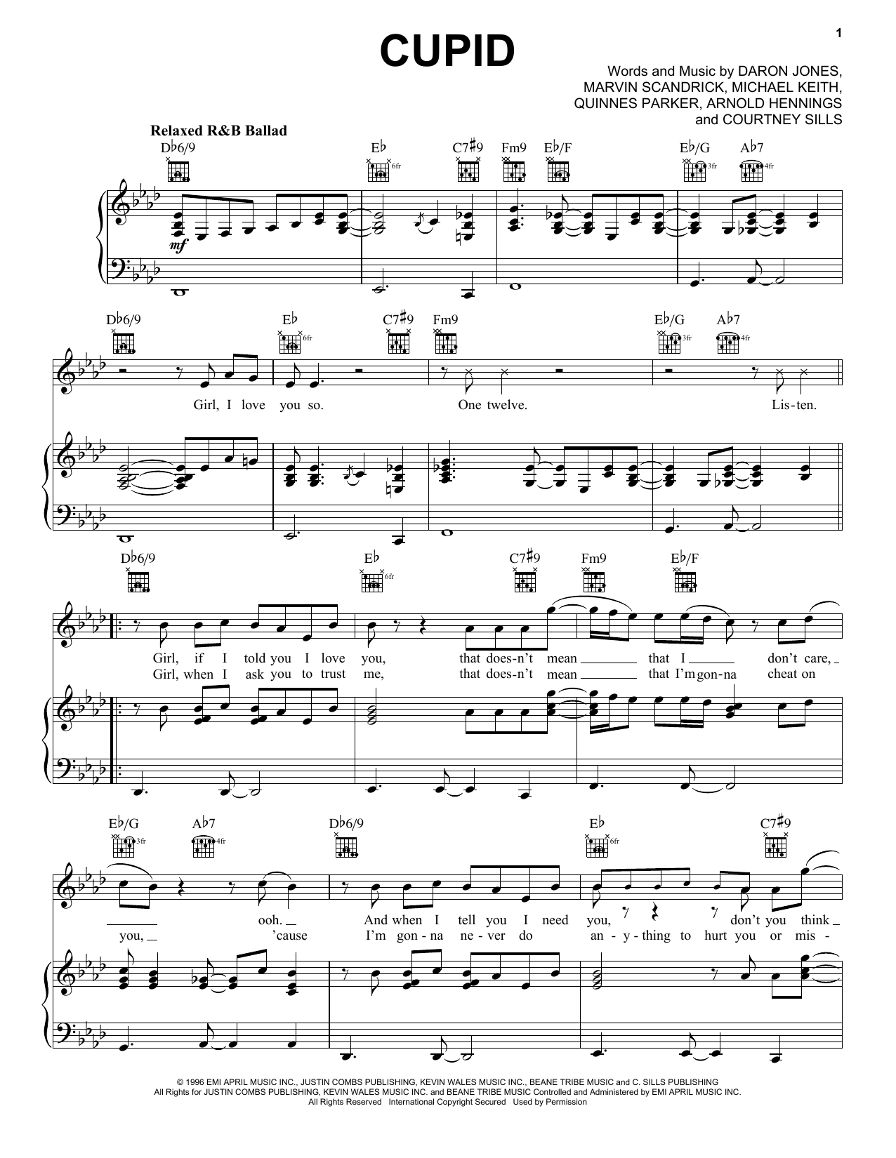 112 Cupid sheet music notes and chords