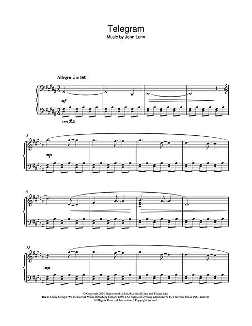 John Lunn 'Telegram' Sheet Music Notes, Chords | Download Printable Piano -  SKU: 112055