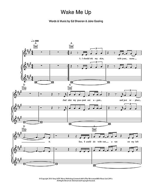 Ed Sheeran Wake Me Up Sheet Music Notes Chords Printable Rock