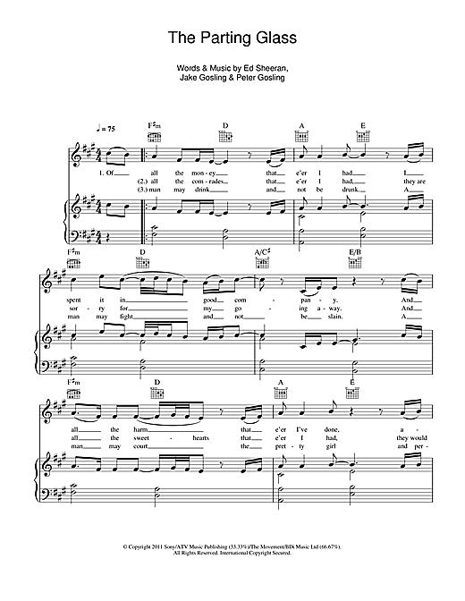Ed Sheeran The Parting Glass Sheet Music Notes Chords Printable