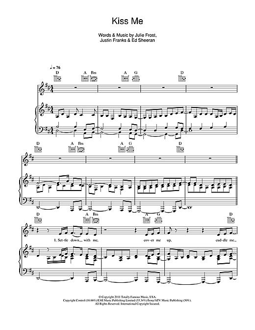 Ed Sheeran Kiss Me Sheet Music Notes Chords Printable Rock