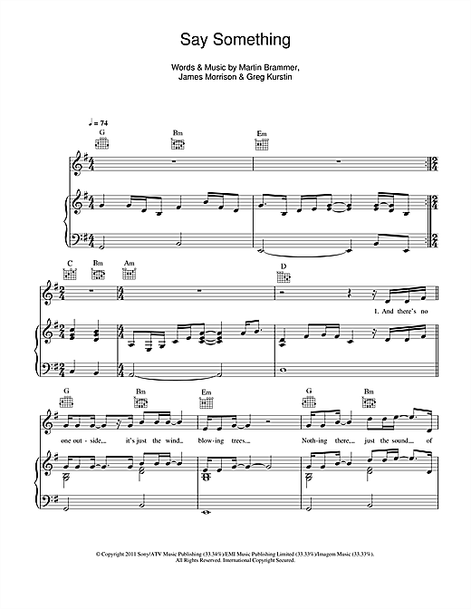 James Morrison Say Something Now Sheet Music Notes Chords
