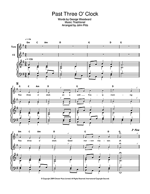 picture relating to Printable Christmas Sheet Music known as Xmas Carol Previous 3 OClock Sheet Audio Notes, Chords Obtain Printable Soprano (Descant) Recorder - SKU: 112403