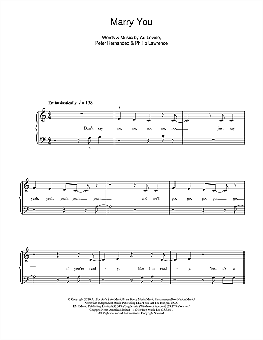 Bruno Mars Marry You Sheet Music Notes Chords Printable Pop 5