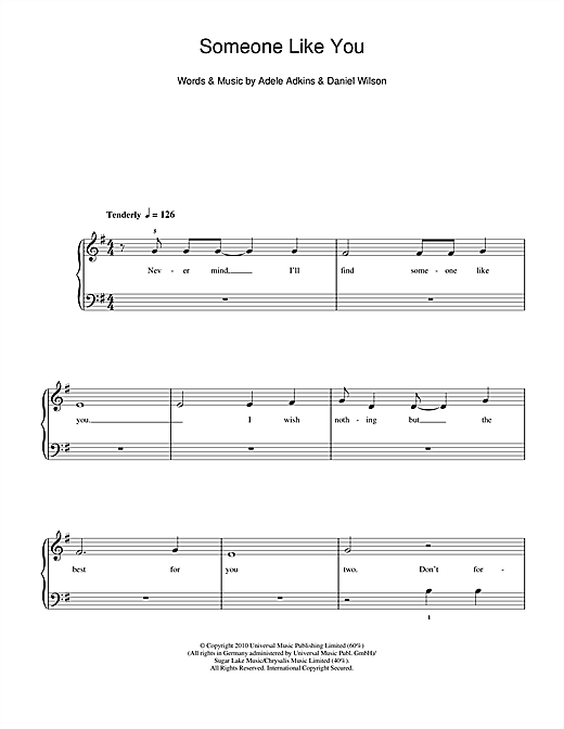 Adele Someone Like You Sheet Music Notes Chords Printable Pop 5
