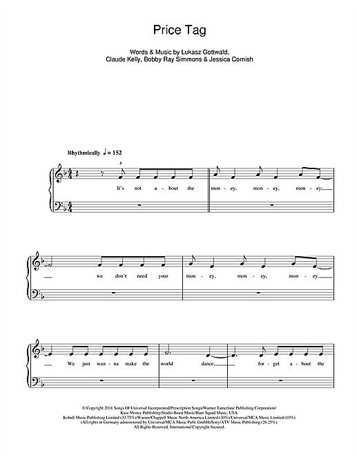 Jessie J Price Tag Sheet Music Notes Chords Printable Pop 5