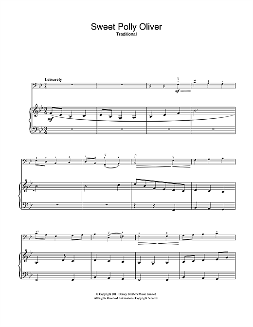 Traditional Sweet Polly Oliver Sheet Music Notes Chords