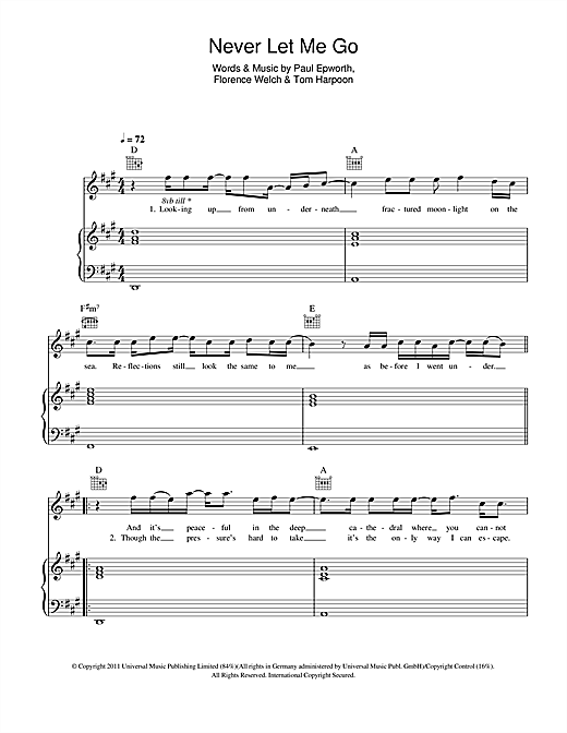 Florence And The Machine Never Let Me Go Sheet Music Notes Chords