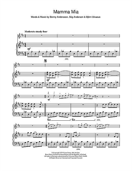 Abba Mamma Mia Sheet Music Notes Chords Download Printable Violin Sku 112720