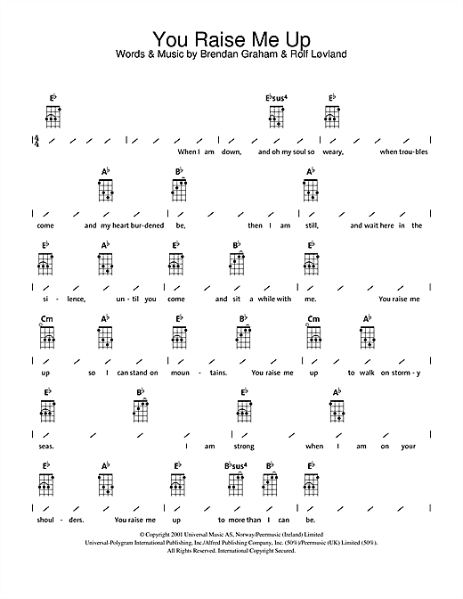 Westlife You Raise Me Up Sheet Music Notes Chords Printable Pop