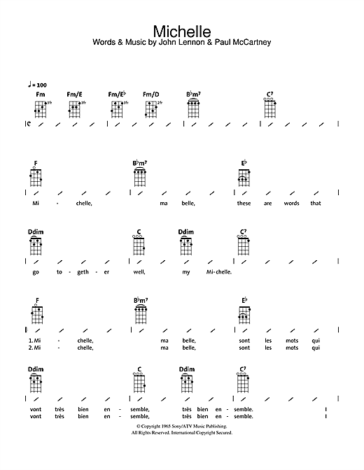 The Beatles Michelle Sheet Music Notes Chords Printable Rock