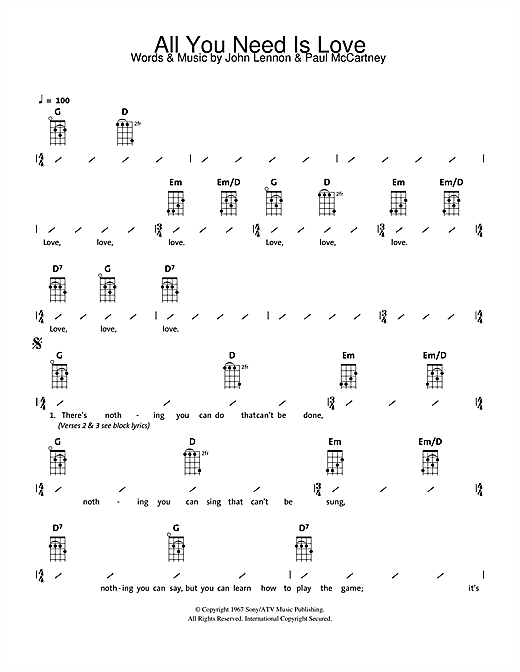 The Beatles All You Need Is Love Sheet Music Notes Chords