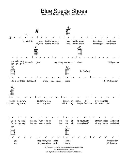Elvis Presley Blue Suede Shoes Sheet Music Notes Chords