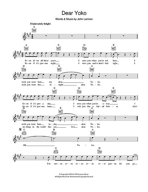 John Lennon Dear Yoko Sheet Music Notes Chords Printable Rock