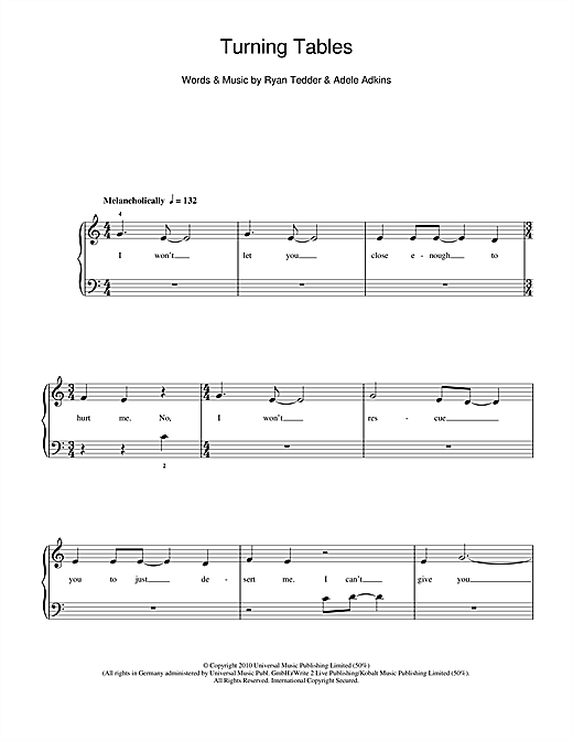 Adele Turning Tables Sheet Music Notes Chords Printable Pop 5