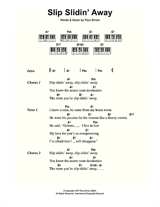 Paul Simon Slip Slidin Away Sheet Music Notes Chords Printable