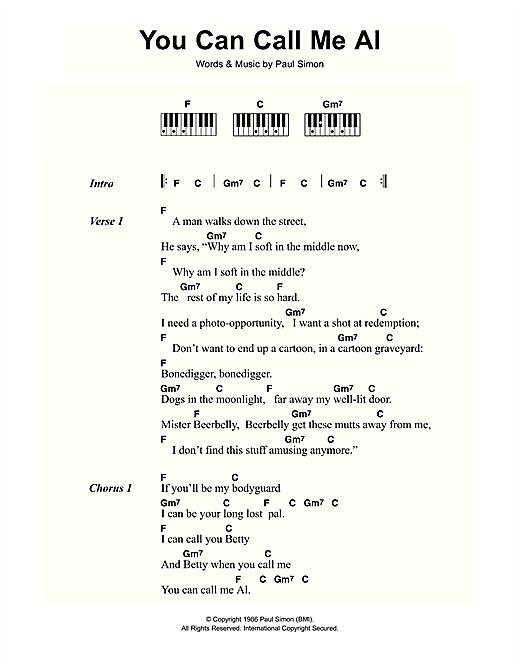 Paul Simon You Can Call Me Al Sheet Music Notes Chords