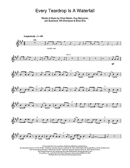 Coldplay Every Teardrop Is A Waterfall Sheet Music Notes Chords