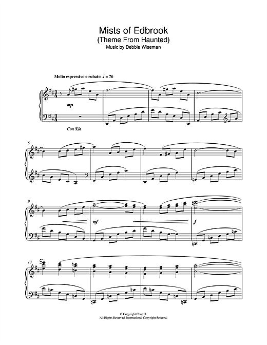 Debbie Wiseman Mists Of Edbrook Theme From Haunted Sheet Music