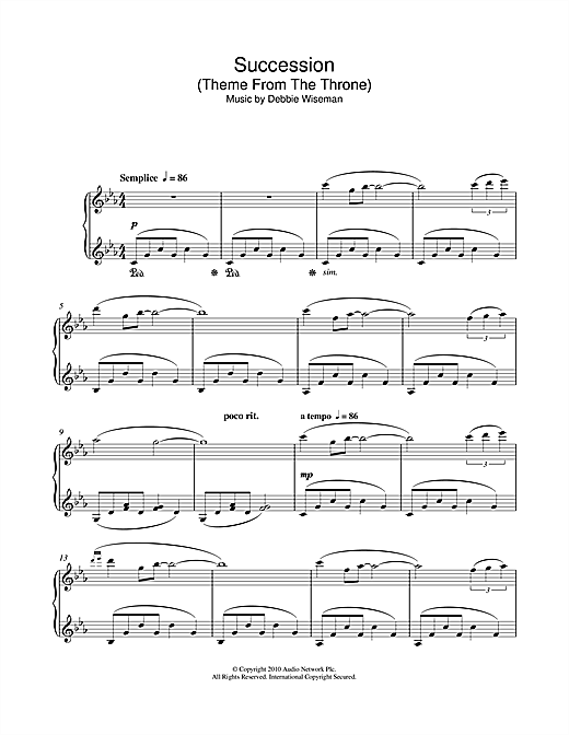 Debbie Wiseman Succession Theme From The Throne Sheet Music