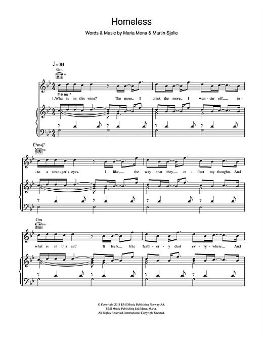 Maria Mena Homeless Sheet Music Notes Chords Printable Folk